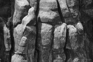 Blick von der Schrammsteinaussicht auf die Schrammsteine
