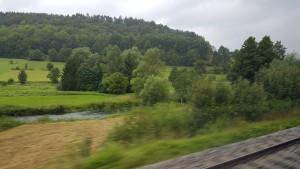 Blick aus dem Zugfenster auf die Pegnitz