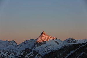 Schönfeldspitze im letzten Sonnenlicht