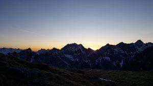 Sonnenuntergang über dem Wimbachgries