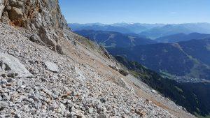 Das Geröllfeld am oberen Ende der Kletterstrecke